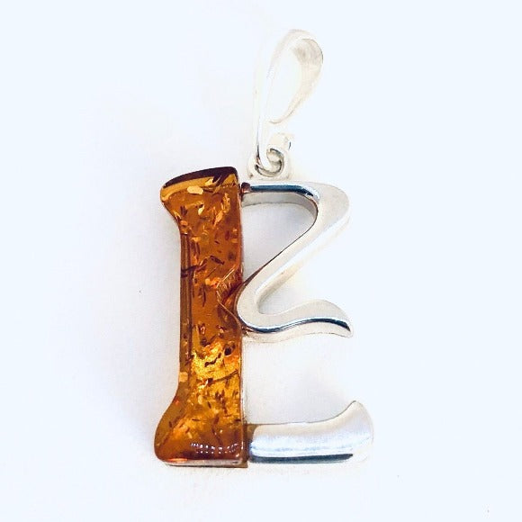 "Amber and Silver Pendant - Initial ""E"""