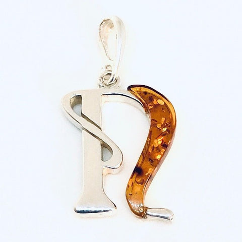 "Amber and Silver Pendant - Initial ""N"""