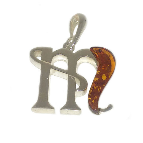 "Amber and Silver Pendant - Initials ""M"""
