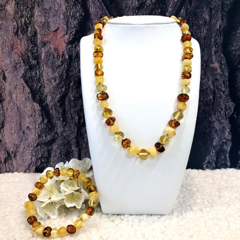 Multicolour Baltic Amber Necklace with Matching Bracelet