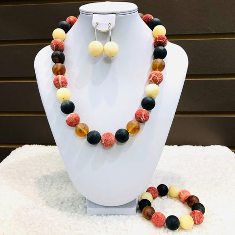 Amber and Coral Ball Necklace in Mat and Matching Bracelet