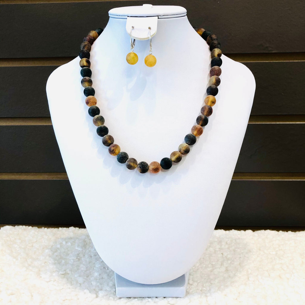 Baltic Amber Ball Necklace in Mat Finish