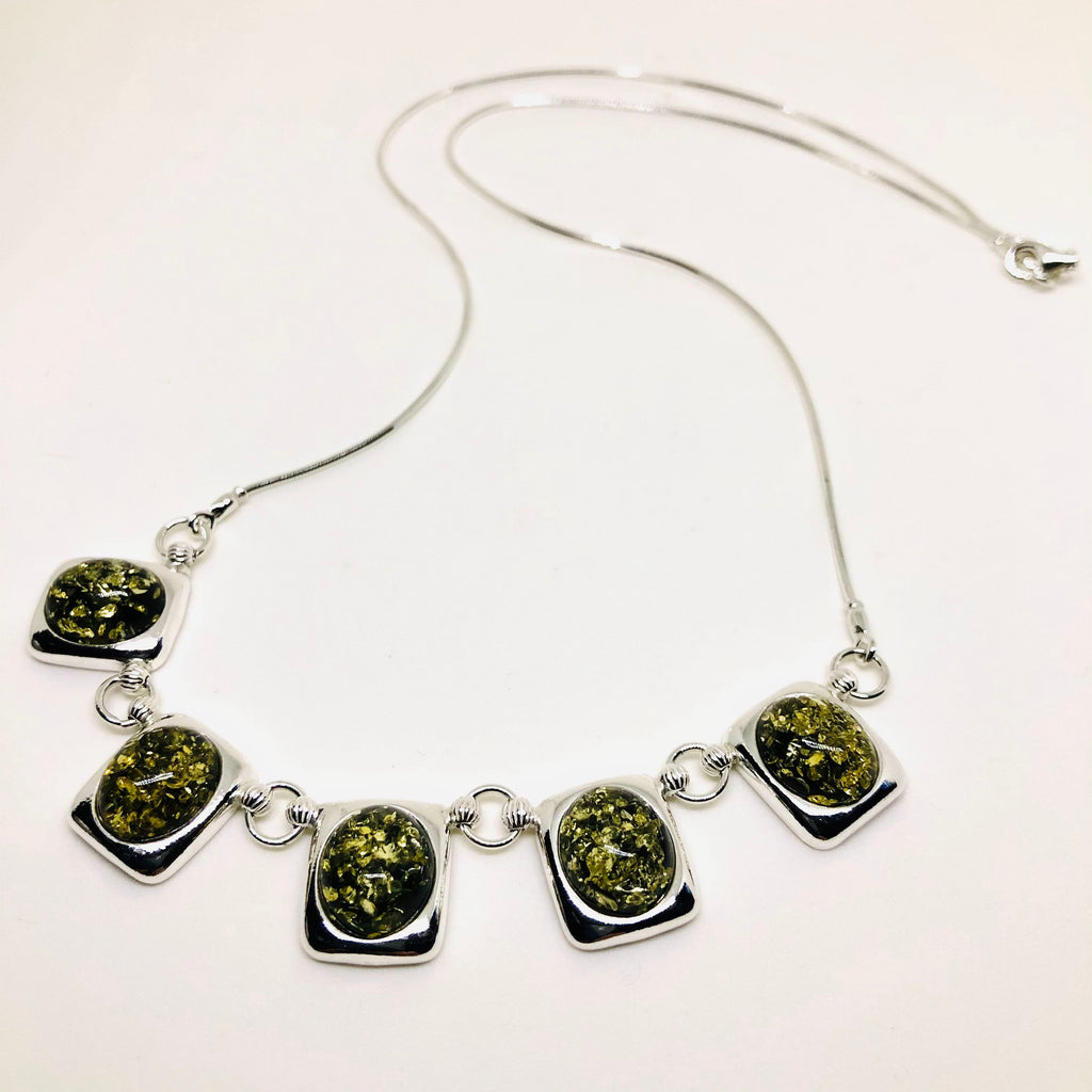 Elegant Green Amber Necklace