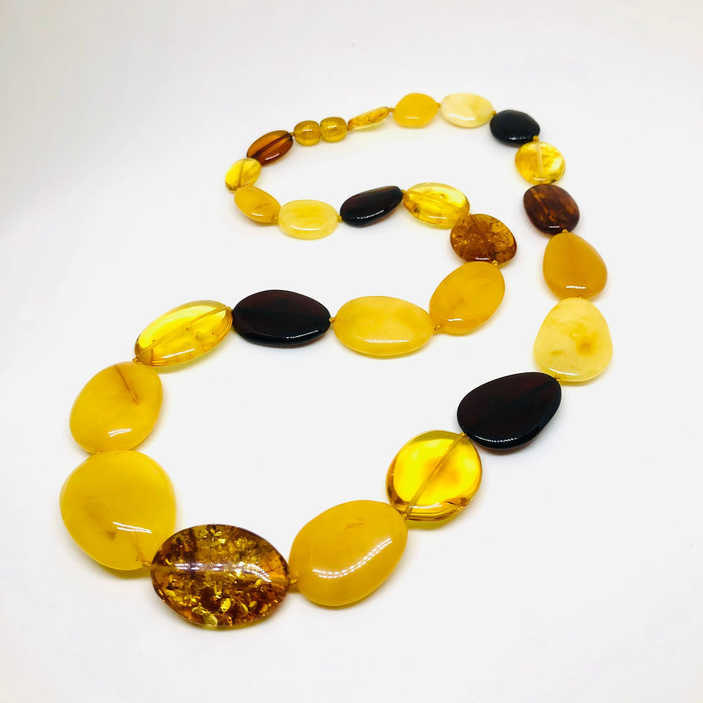 Long Multicolour Amber Necklace