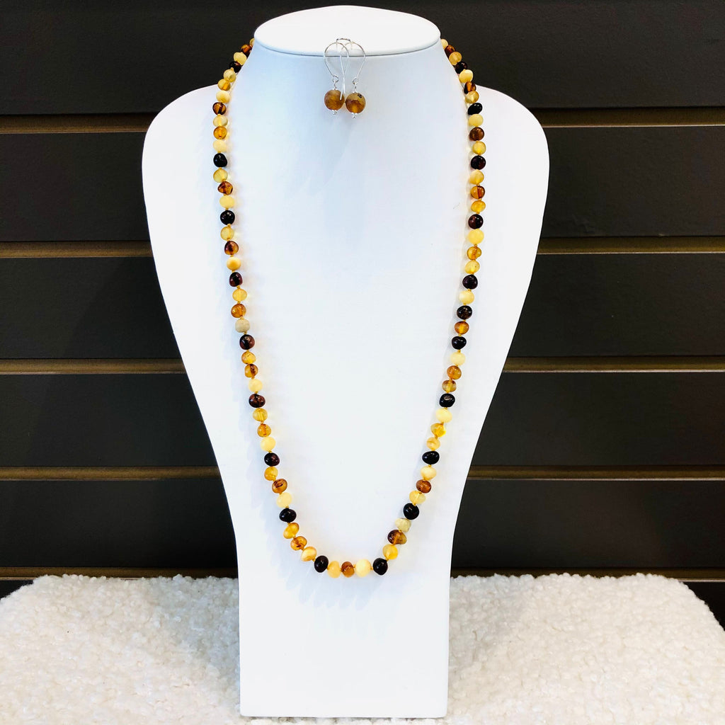 Long Amber Necklace in Mat