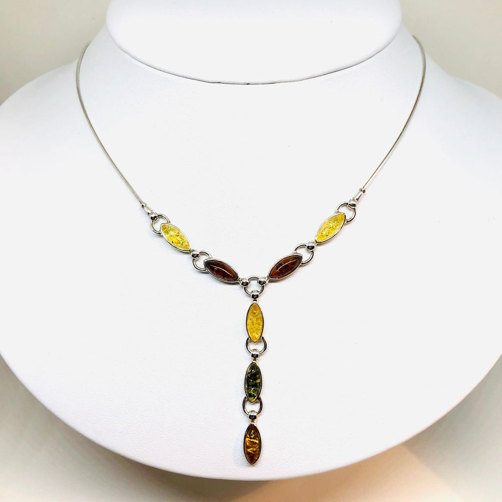 "Amber and Silver ""V"" Necklace"
