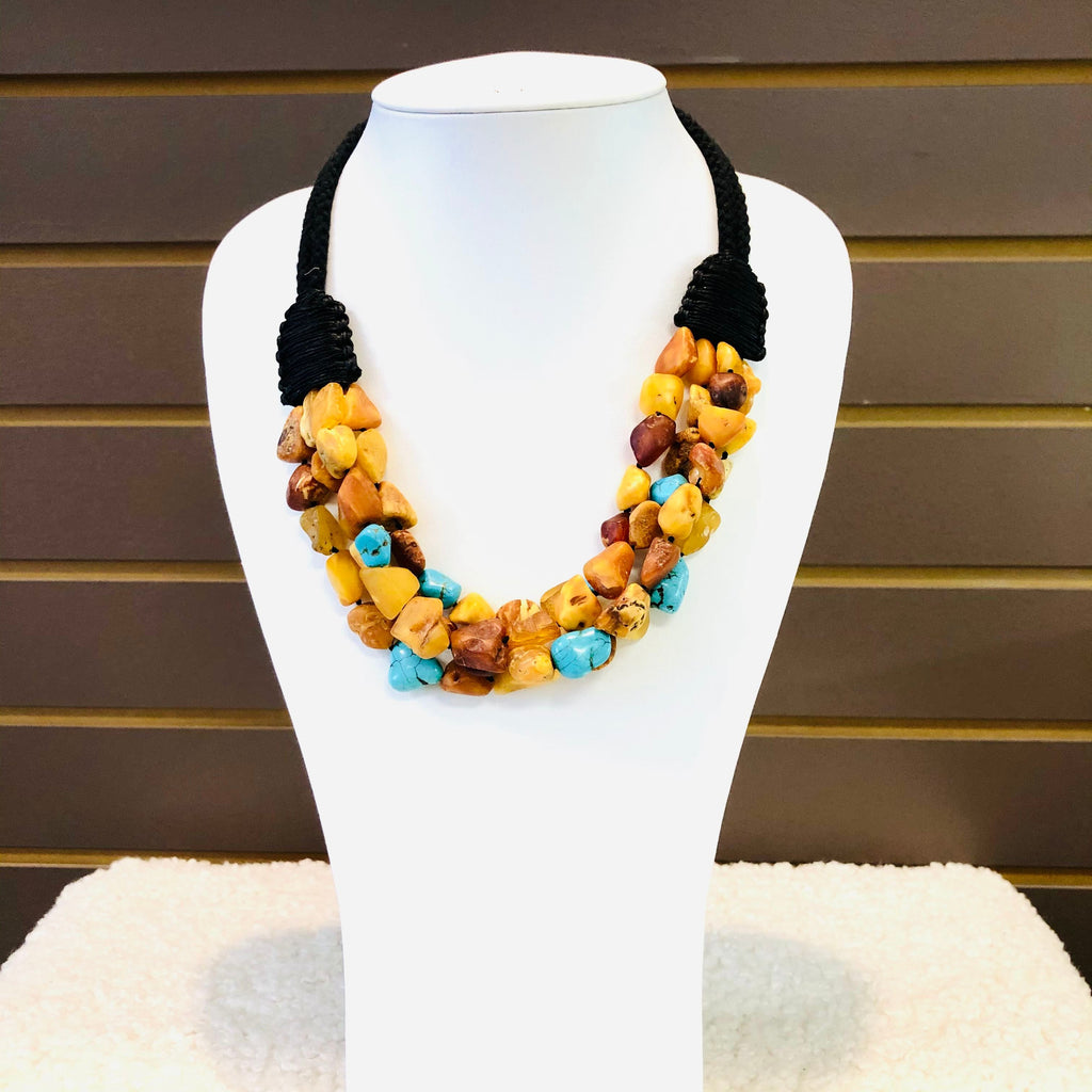Multi Strand Amber and Turquoise Necklace