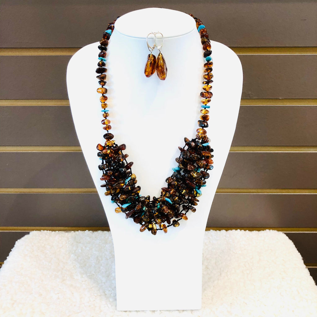 Amber and Turquoise Long Necklace