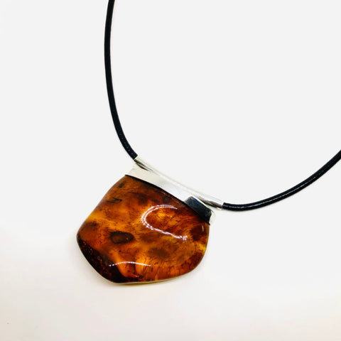 Amber Necklace on Leather