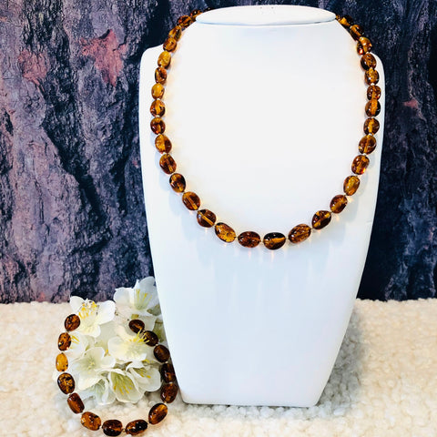Amber and Silver Necklace and Matching Bracelet