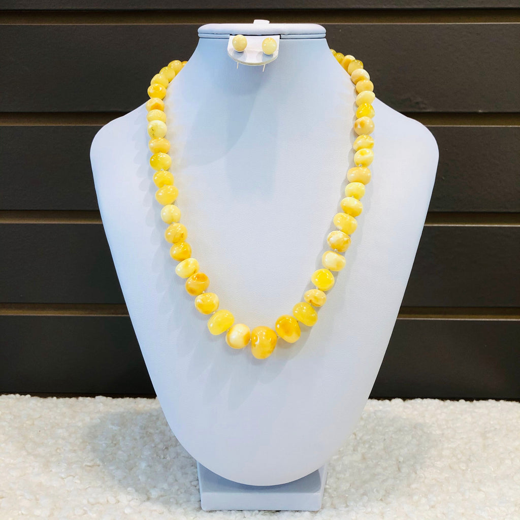 Amber Necklace - Rounded Butter Beads