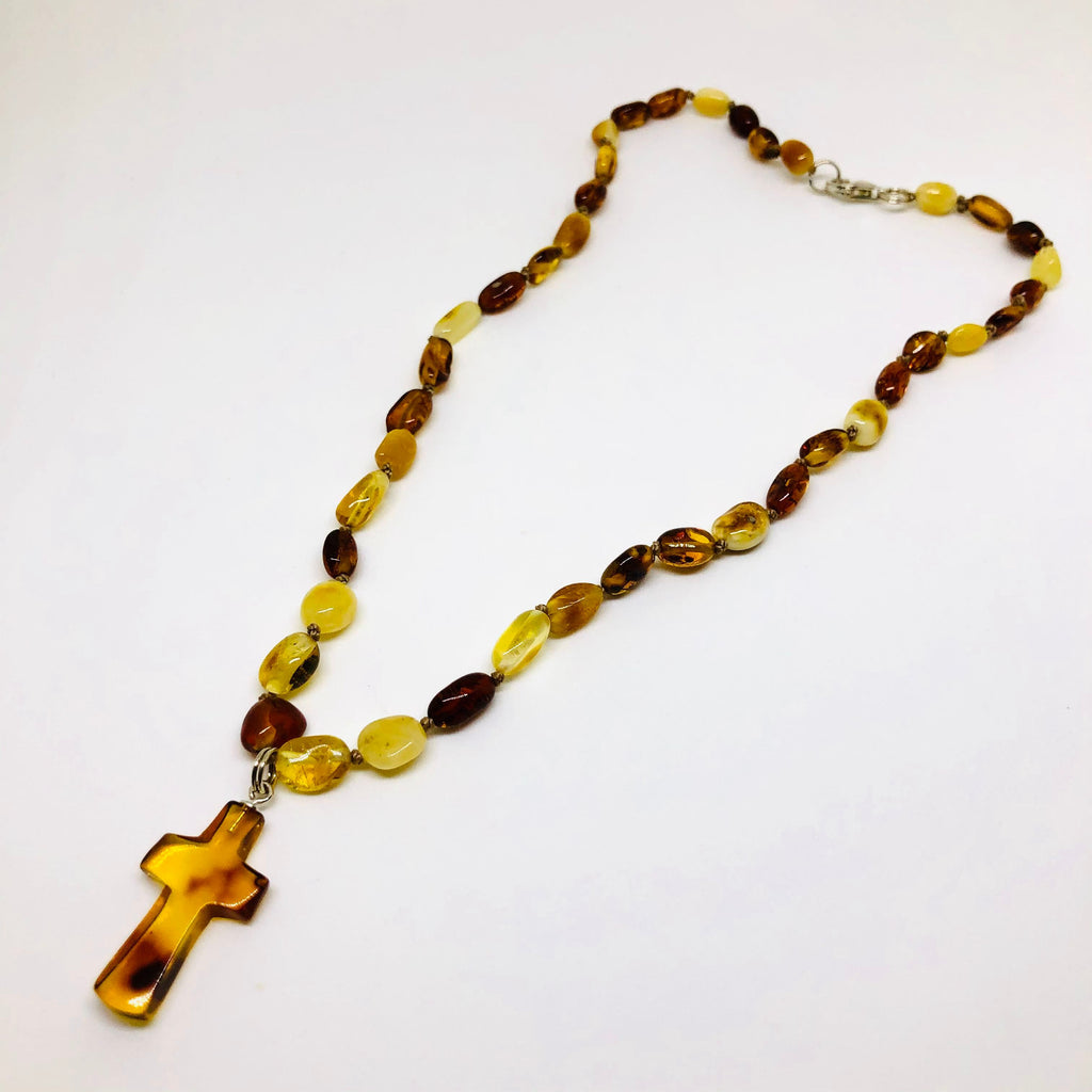 Amber Beads with a Cross