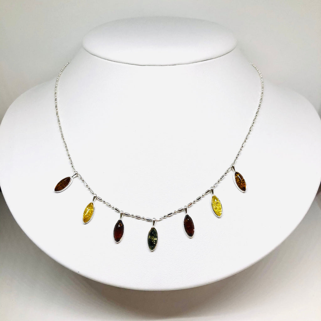 Baltic Amber and Silver Marquis Necklace
