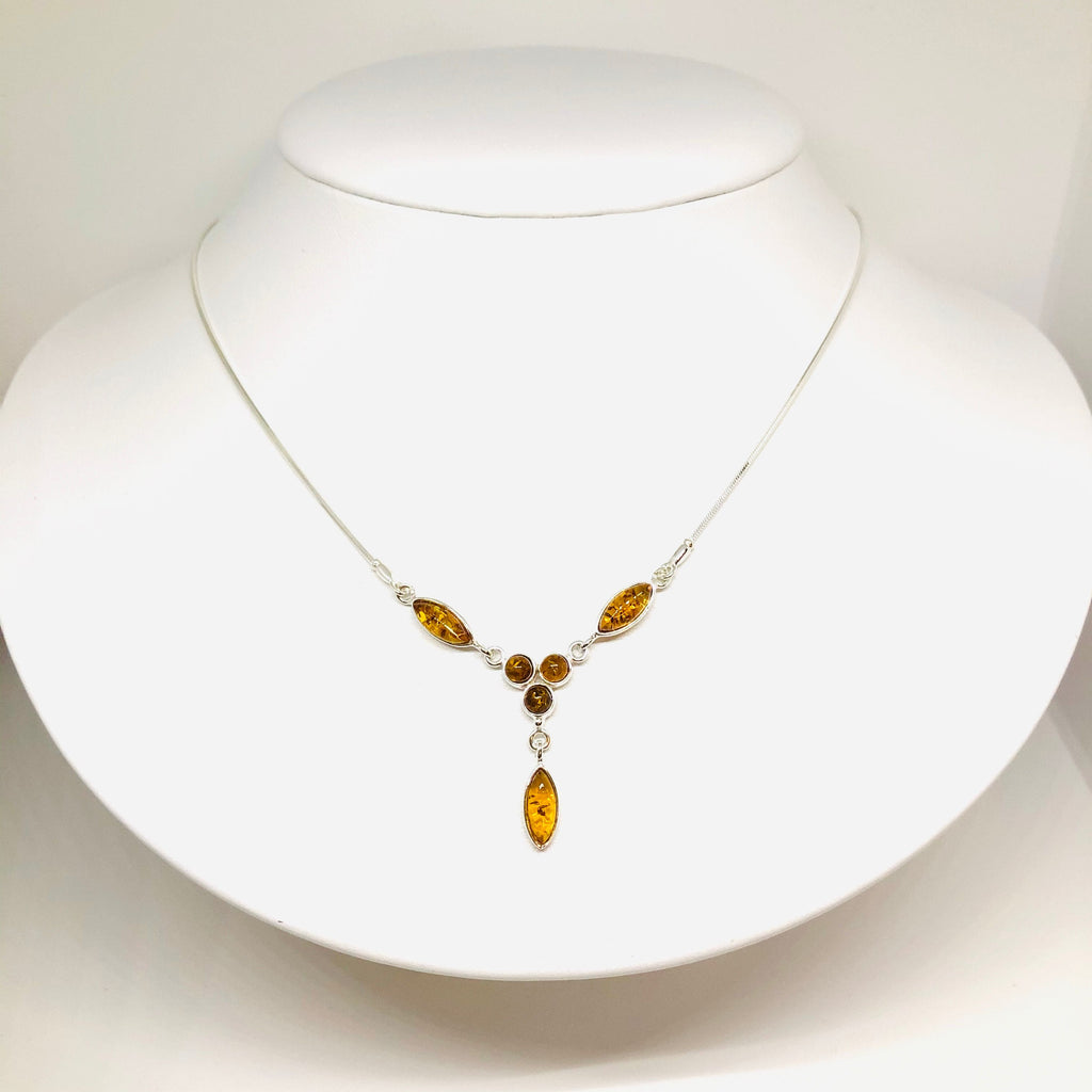 Delicate Amber and Silver Necklace