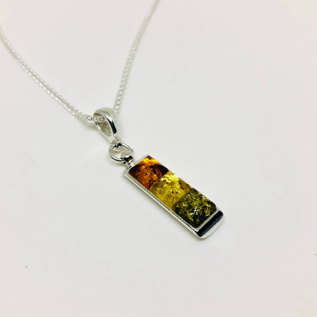 Baltic Amber Bar Pendant in 3 Colours
