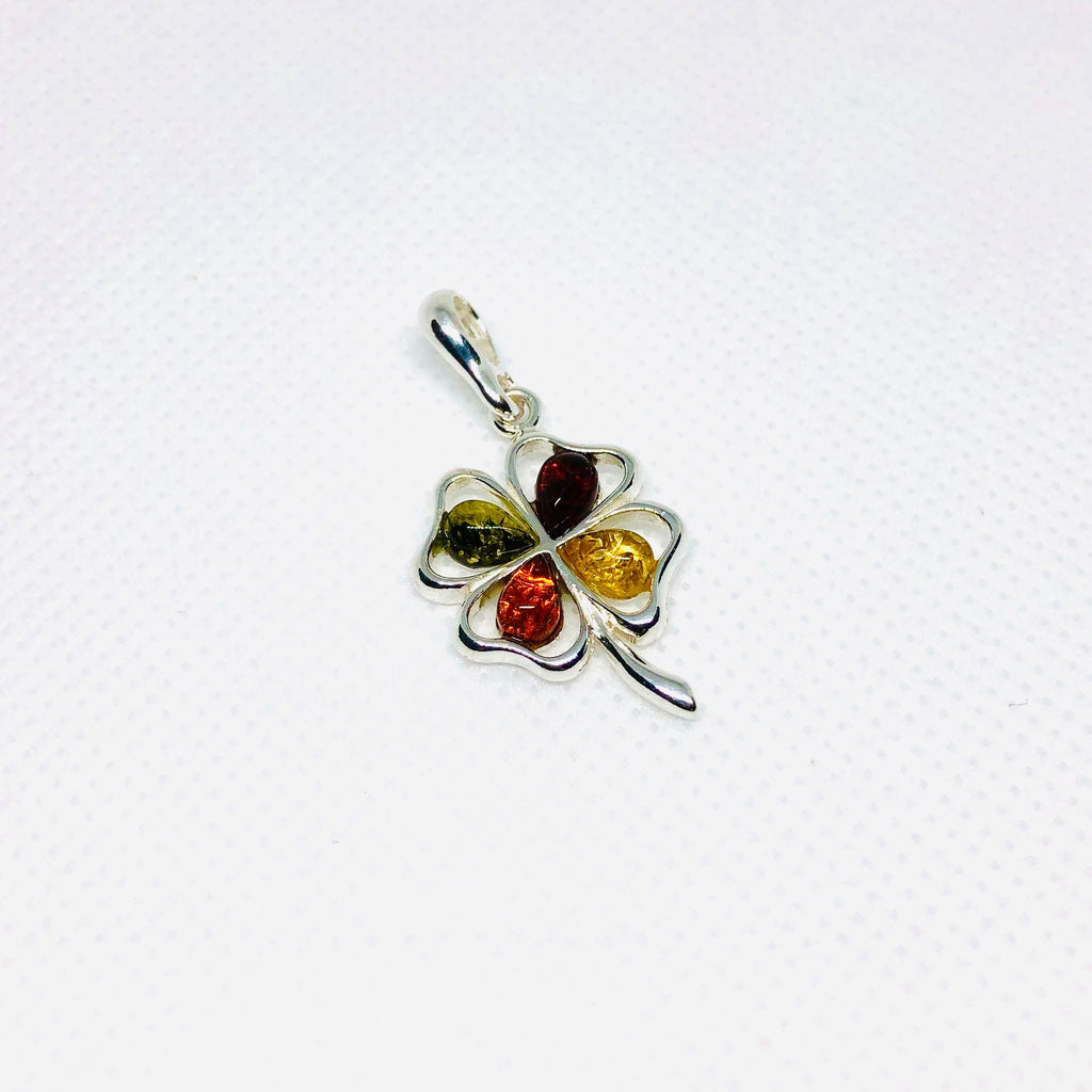 Four Leaf Clover Pendant with Multicolour Amber