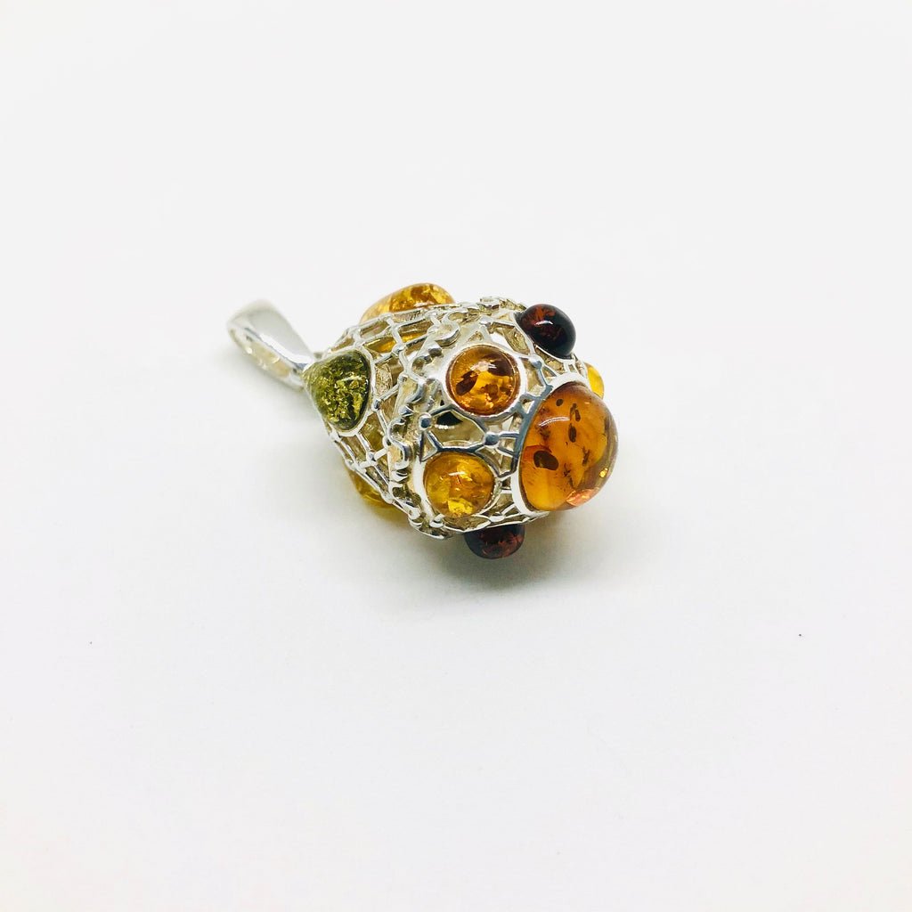 Faberge Egg Pendant in Amber and Silver