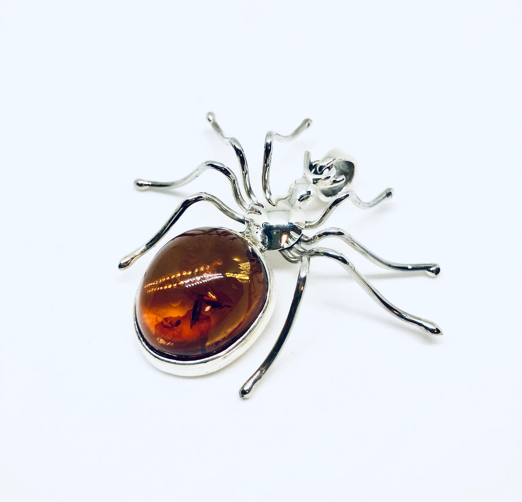 Large Spider Pendant in Amber and Silver