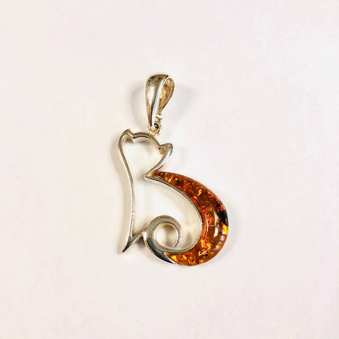 Amber and Silver Cat Pendant