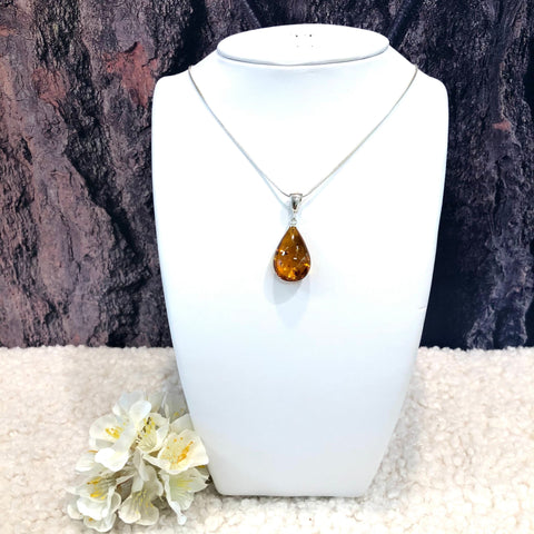 Amber and Silver Teardrop Pendant
