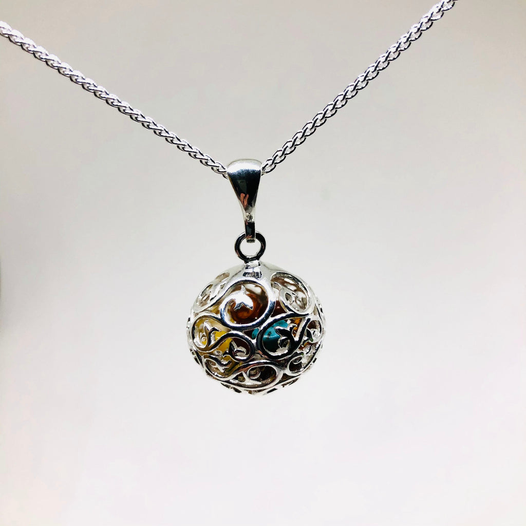 Silver Filigree Ball Pendant with Amber and Turquoise