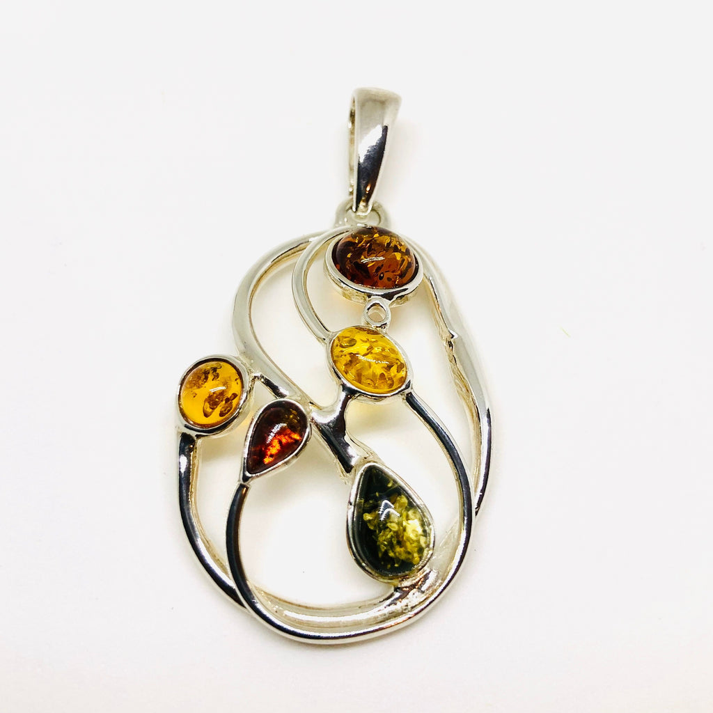 Large Multicolour Amber Pendant