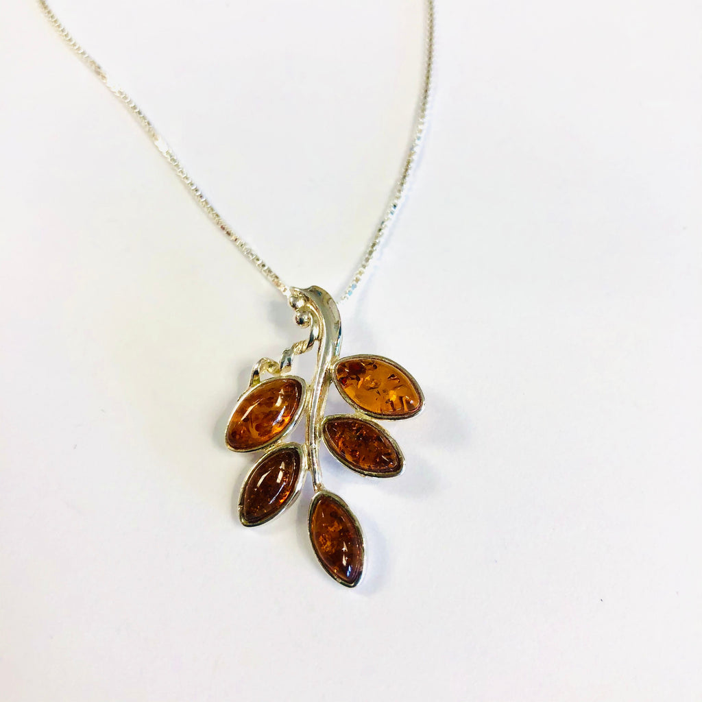 Baltic Amber Leaf Pendant