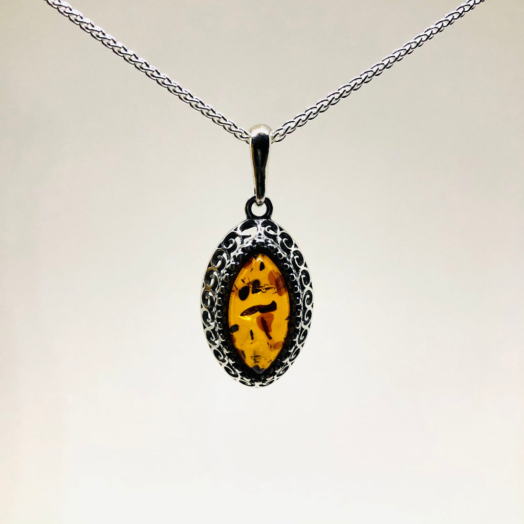 Amber and Silver Marquis Pendant in Filigree Setting