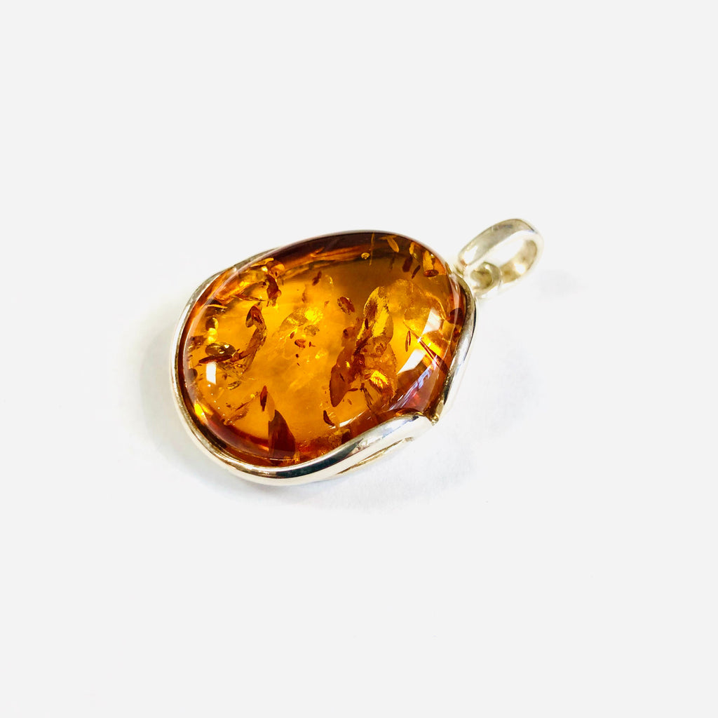 One-of-a-Kind Amber Pendant in Silver