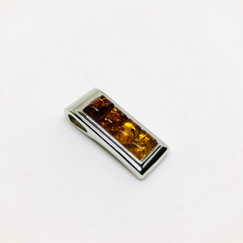 Amber and Silver Rectangular Pendant
