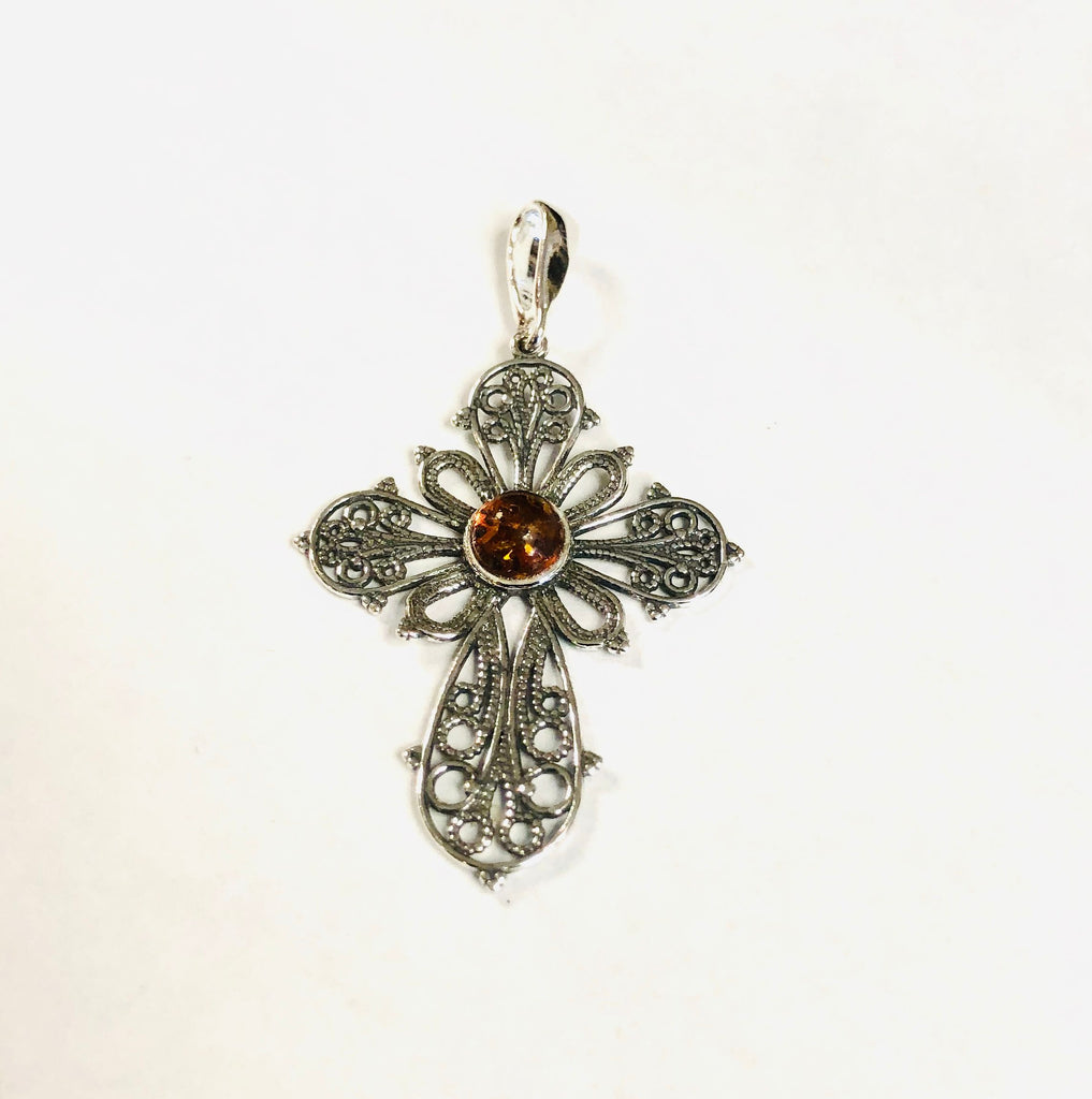 Filigree Baltic Amber Chandelier Pendant Necklace with Chain