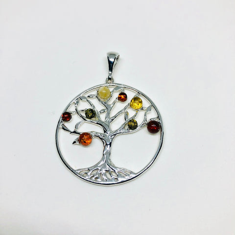 "Amber and Silver ""Tree of Life"" Pendant"