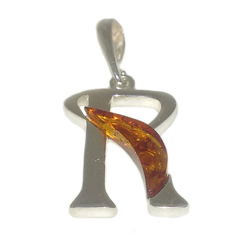 "Amber and Silver Pendant - Initials ""R"""