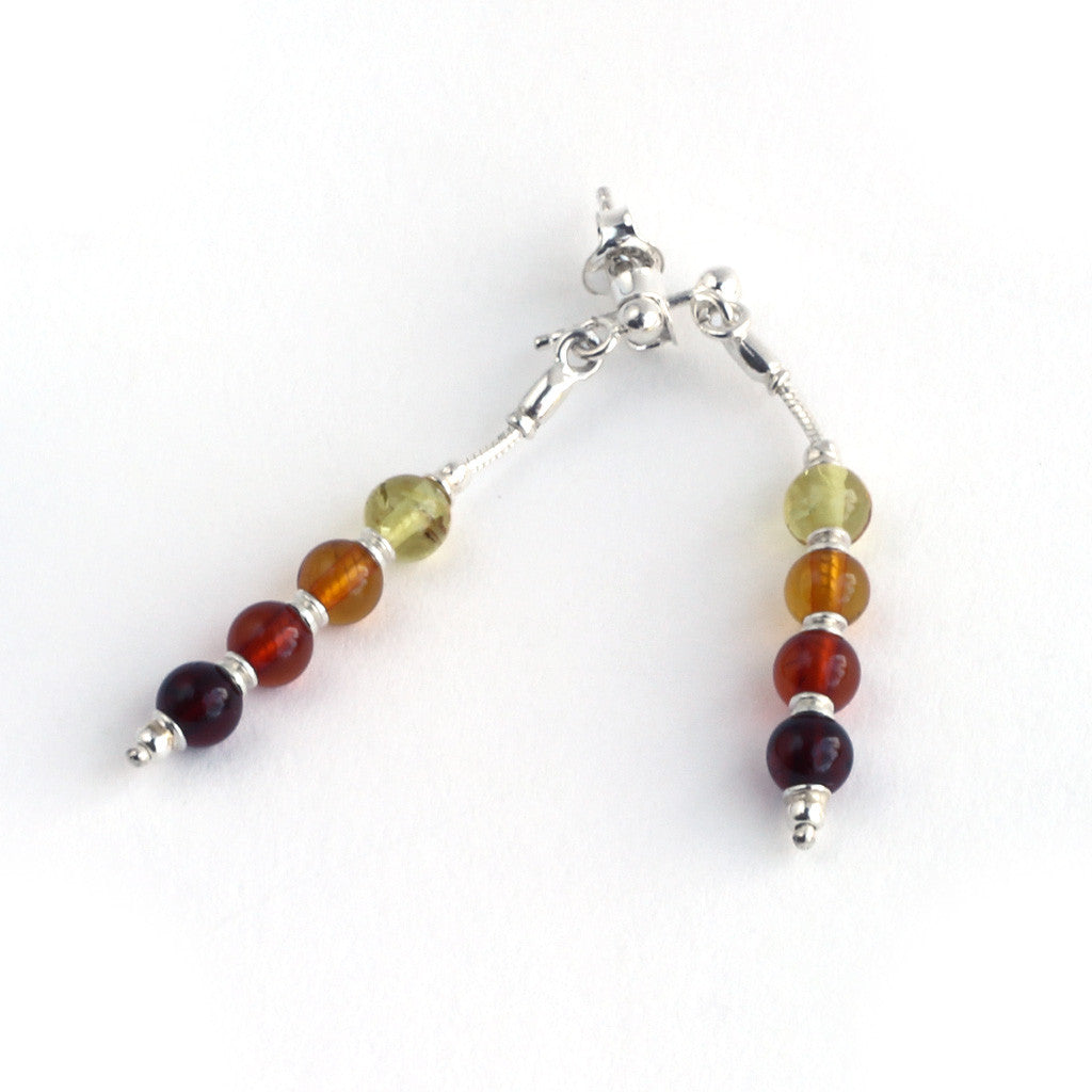 Baltic Amber Hanging Four Bead Earrings available at The Amber Room