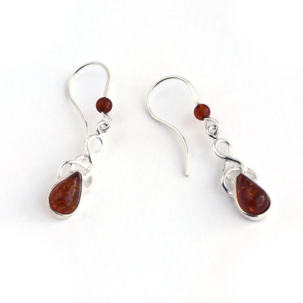 Baltic Amber Hanging Teardrop Earrings available at The Amber Room