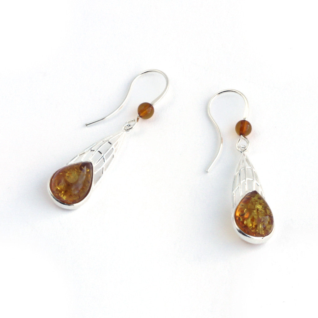 Baltic Amber Dragonfly Wings Earrings available at The Amber Room