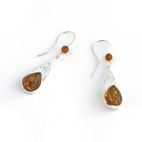 Baltic Amber Dragonfly Wings Earrings