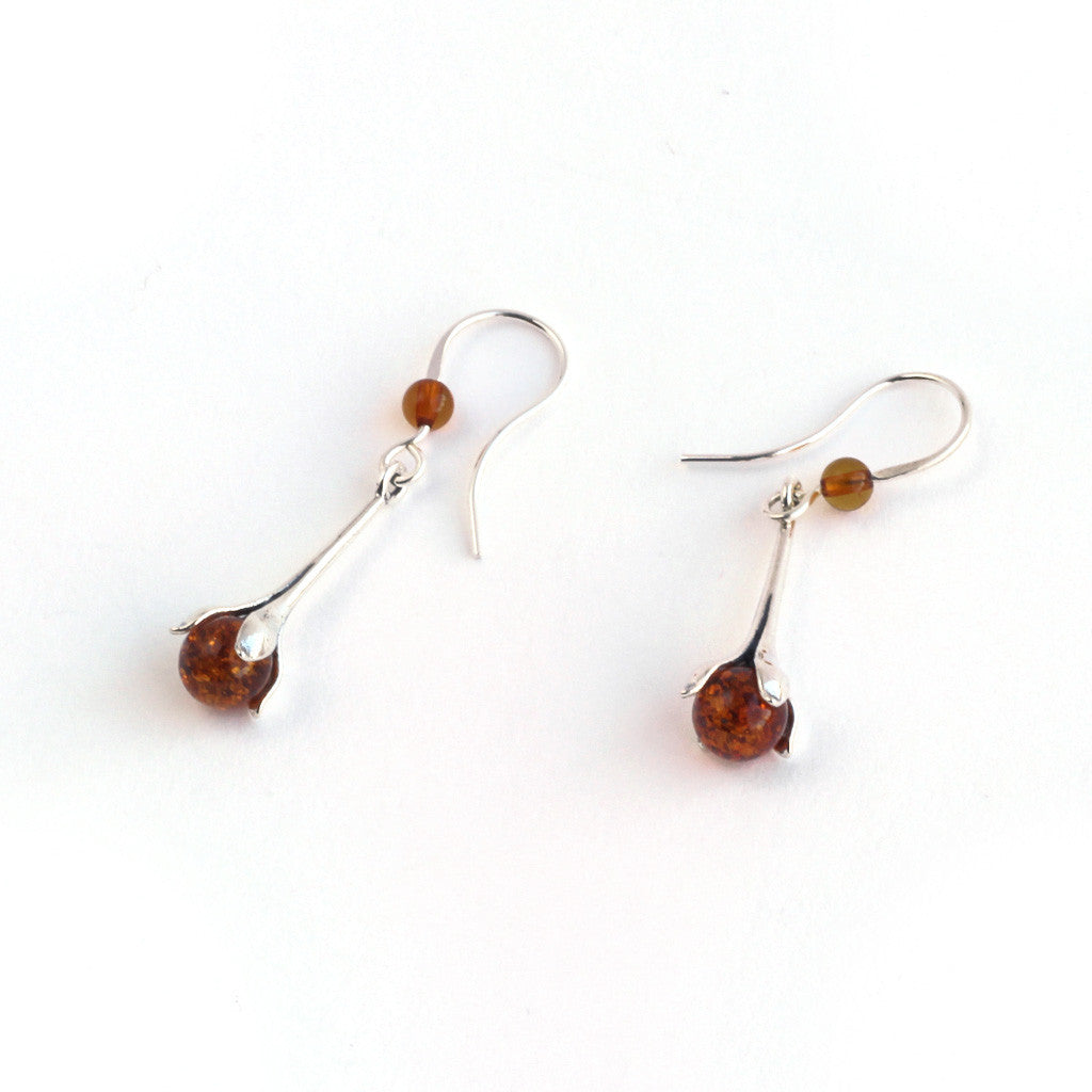 Baltic Amber Hanging Flower Bud Earrings available at The Amber Room