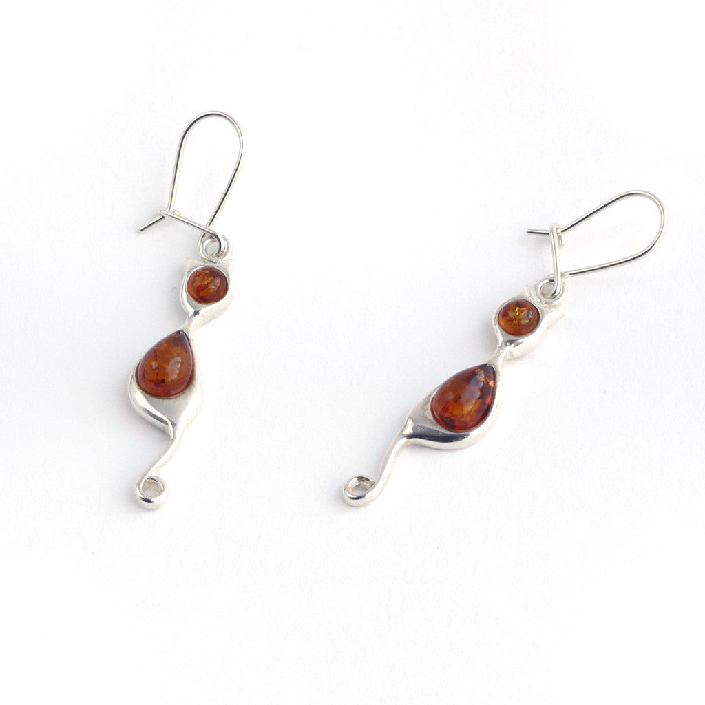 Baltic Amber Hanging Cats Earrings available at The Amber Room