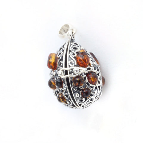 Baltic Amber Silver Oval Locket Pendant