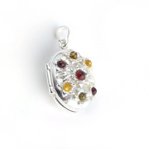 Baltic Amber Silver Flower Locket Pendant available at The Amber Room