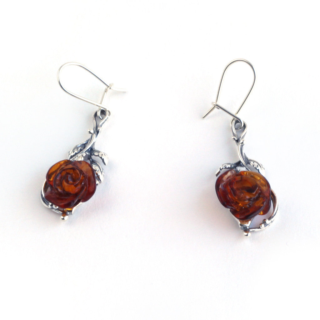 Baltic Amber Rose Hanging Earrings