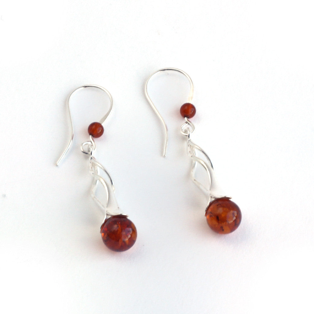 Baltic Amber Twirl Handing Earrings available at The Amber Room