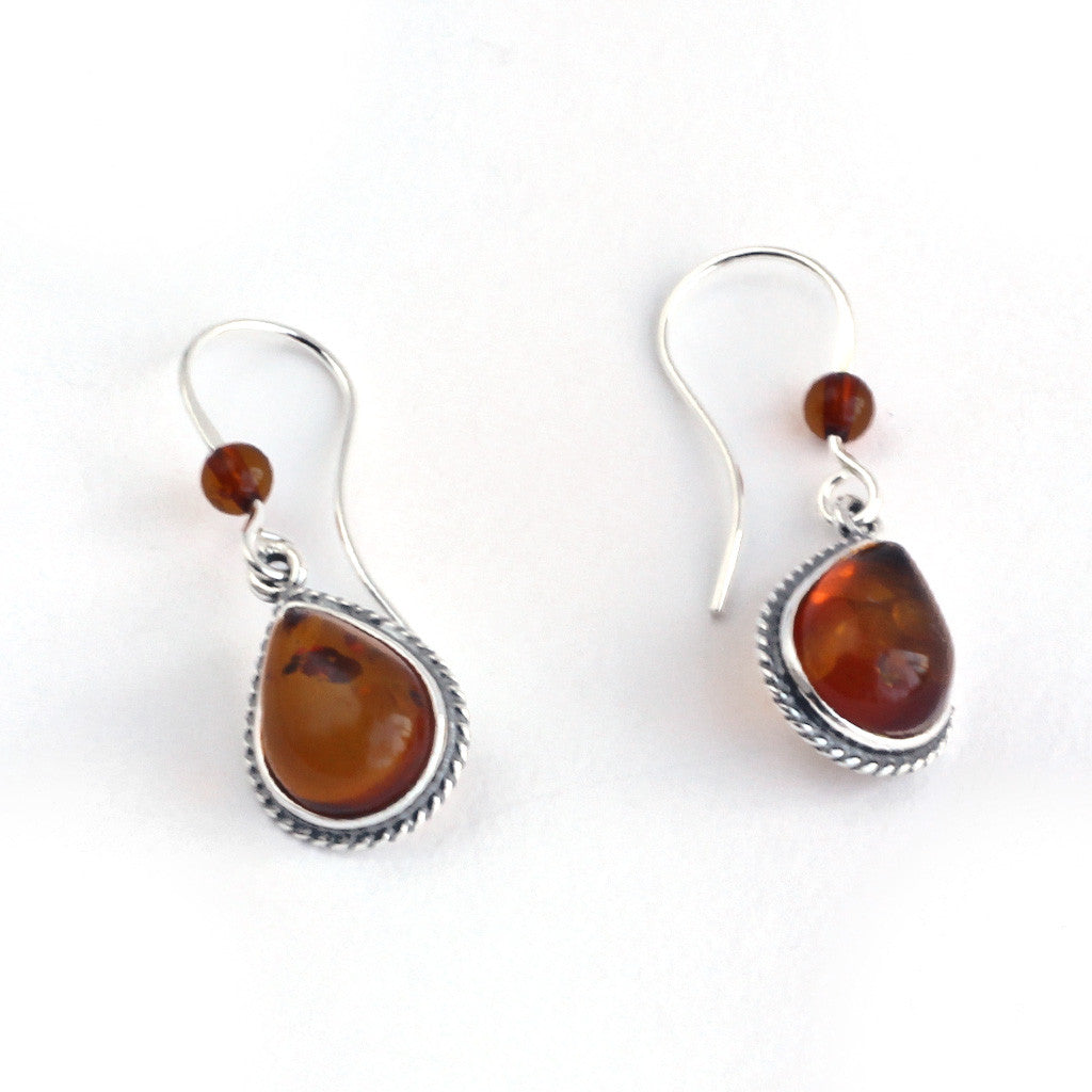 Baltic Amber Hanging Oval Earrings available at The Amber Room
