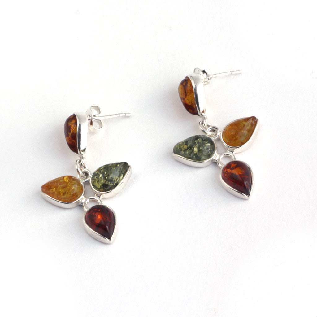 Baltic Amber Three Leaf Hanging Earrings available at The Amber Room