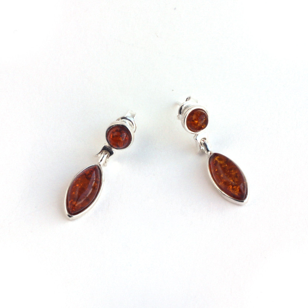 Baltic Amber Oval Elegant Hanging Earrings available at The Amber Room