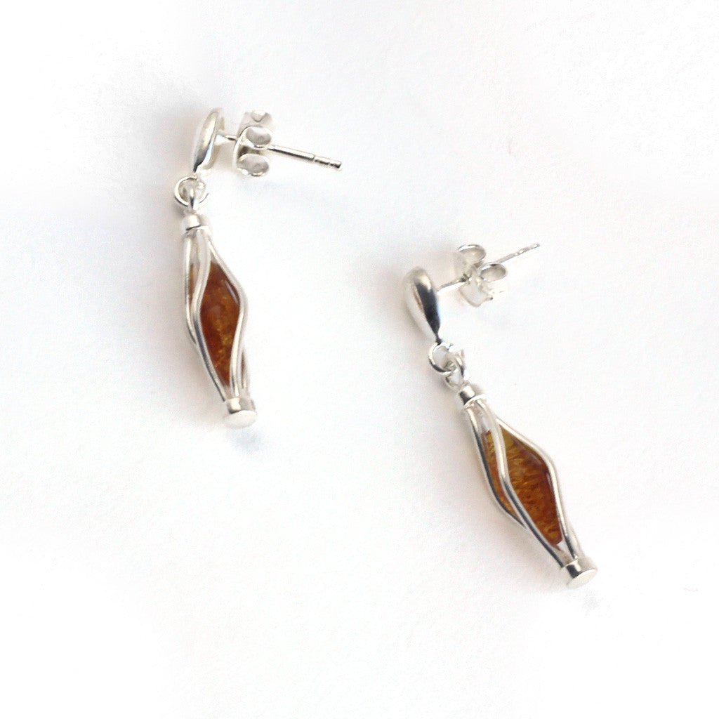 Baltic Amber Hanging Silver Cage Earrings available at The Amber Room