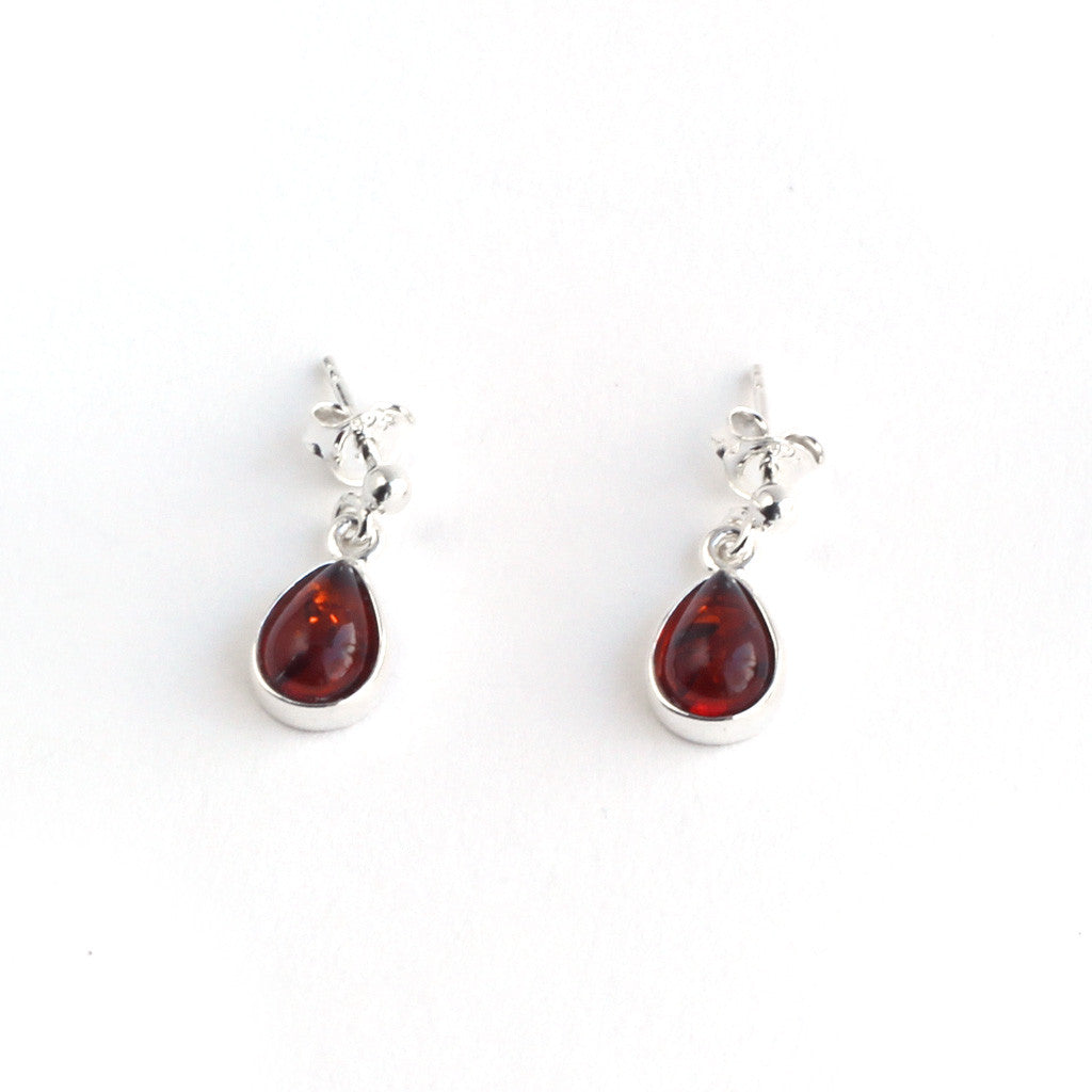 Baltic Amber Hanging Elegant Teardrop Earrings - Brown Amber Color available at The Amber Room