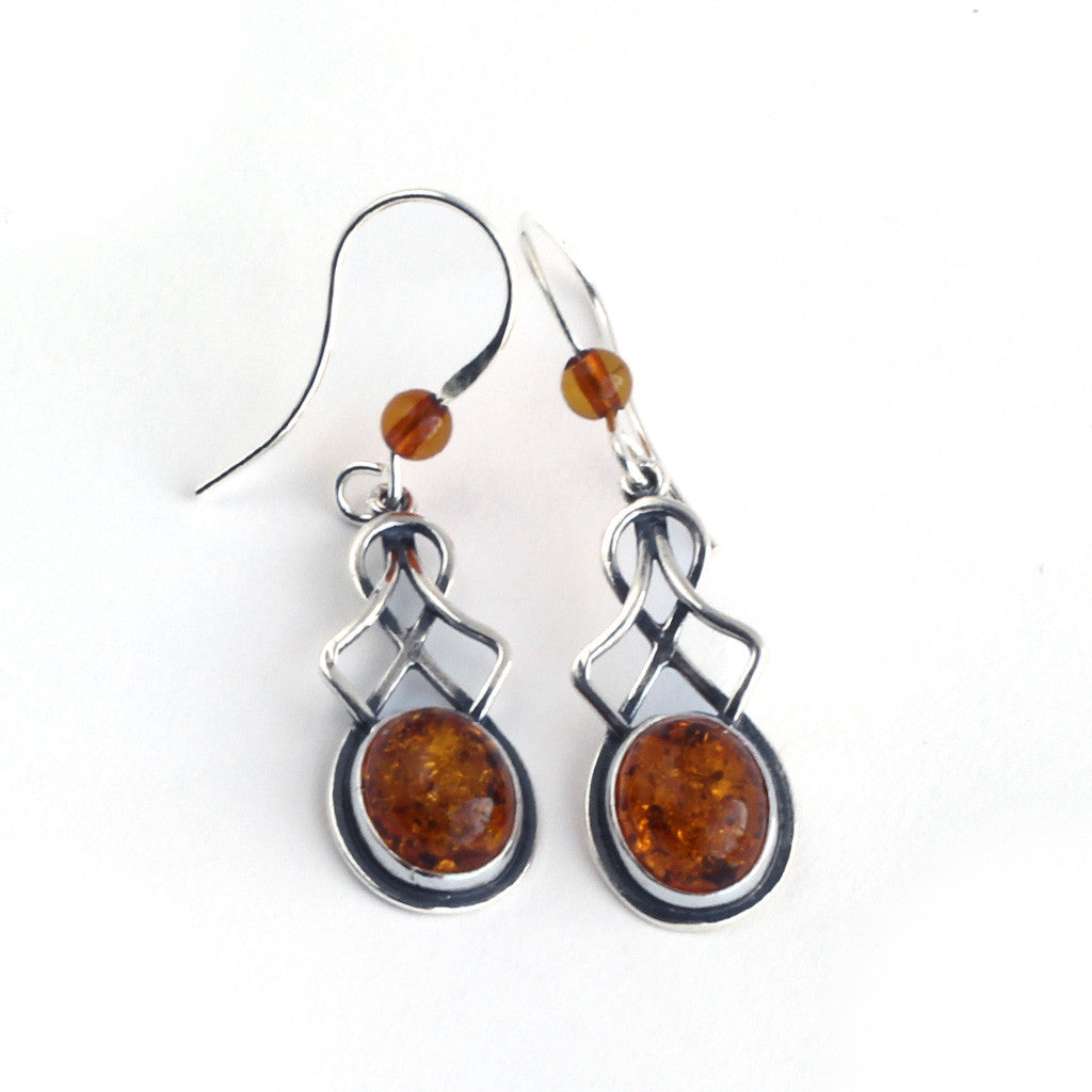 Baltic Amber Round Hanging Earrings available at The Amber Room
