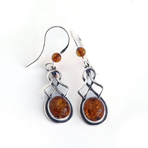 Baltic Amber Celtic Hanging Earrings in Green or Cognac